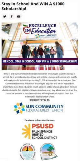 Scholarship opportunity for our 11th and 12th grade students